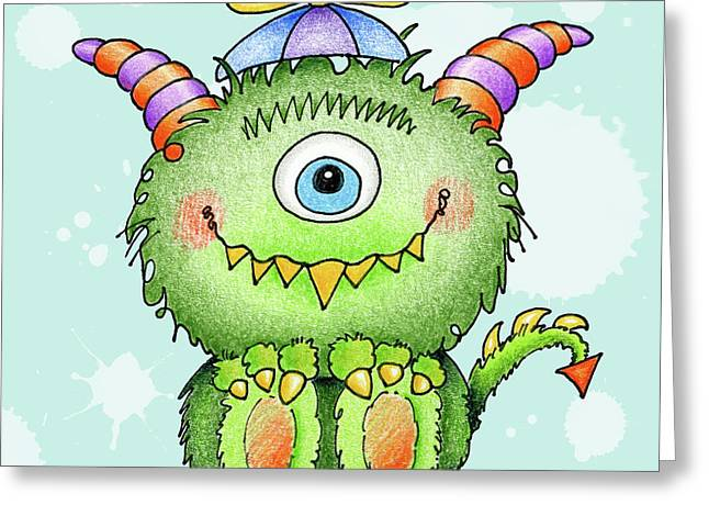 Anniesdoodlebugz Greeting Cards - Beanie Monster Greeting Card by Annie Troe