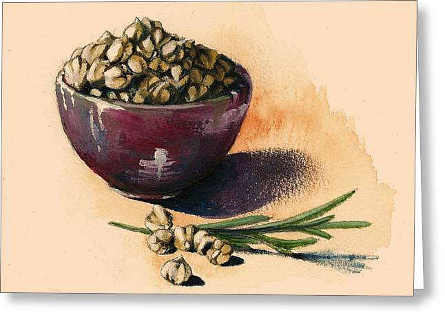 Painted Recipes Greeting Cards - Beans Chickpeas Greeting Card by Alessandra Andrisani