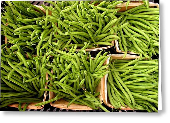 Green Beans Greeting Cards - Beans of Green Greeting Card by Cynthia Wallentine