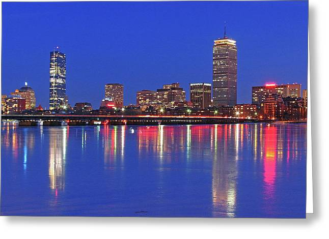 City Lights Greeting Cards - Beantown City Lights Greeting Card by Juergen Roth