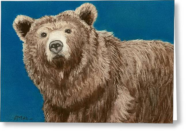 Fauna Pastels Greeting Cards - Bear Greeting Card by Anastasiya Malakhova