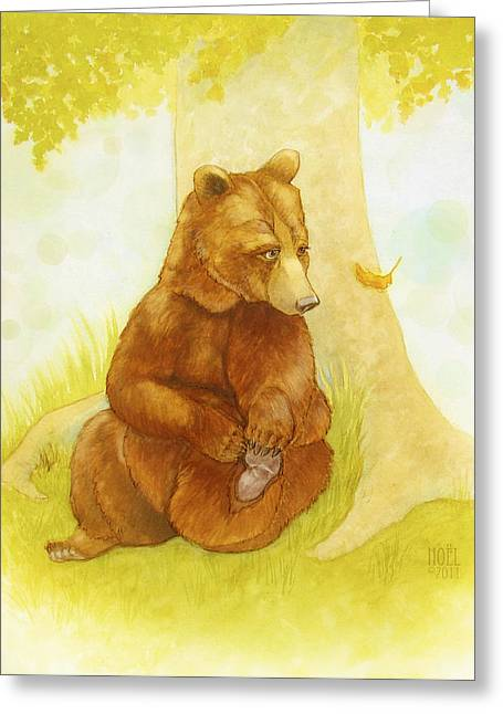 Watercolor Fairytale Greeting Cards - Bear and the Beginning of Autumn Greeting Card by Catherine Noel