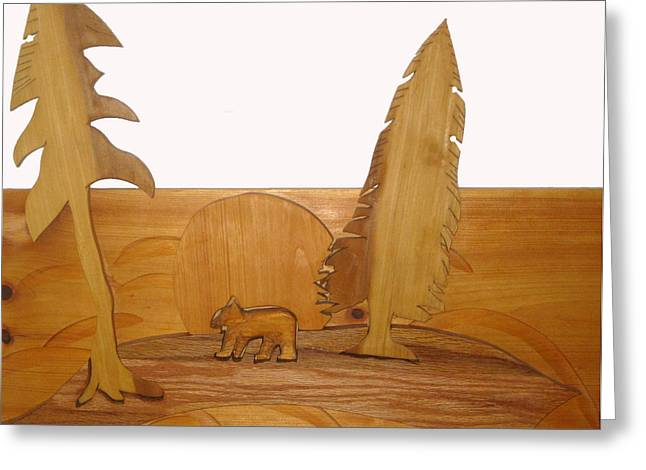Carved Sculptures Greeting Cards - Bear Between Two Trees Greeting Card by Robert Margetts