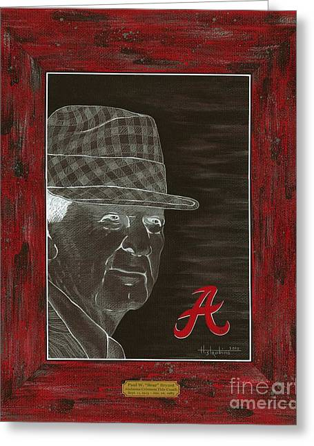 Bear Bryant Greeting Card by Herb Strobino