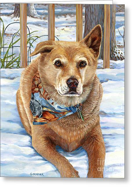 Recently Sold -  - Dogs In Snow. Greeting Cards - Bear Greeting Card by Catherine Garneau