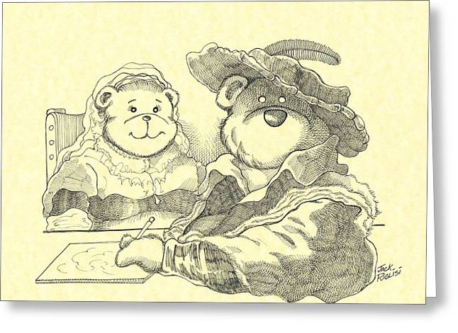 Cute Bear Cartoon Greeting Cards - Bear couple Greeting Card by Jack Puglisi