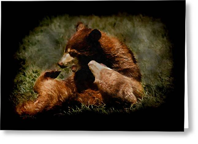 Playing Digital Art Greeting Cards - Bear Cubs Playing Greeting Card by Ernie Echols