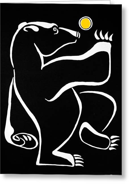 Large Scale Reliefs Greeting Cards - Bear Dancing under the Moon Greeting Card by Vadim Vaskovsky