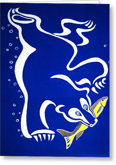 Diving Reliefs Greeting Cards - Bear Diving for the Fish - blue Greeting Card by Vadim Vaskovsky