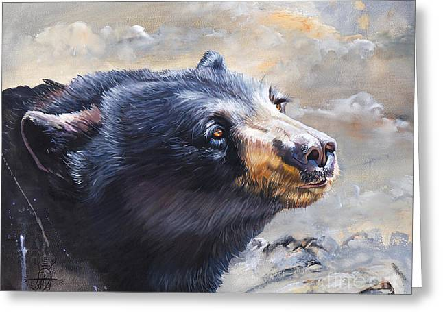 Bear Faces In Windswept Places Greeting Card by J W Baker