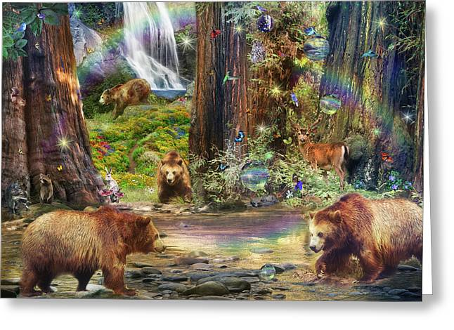 Bear Forest Magical Greeting Card by Alixandra Mullins