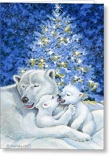 Winter Night Greeting Cards - Bear Hug Greeting Card by Richard De Wolfe
