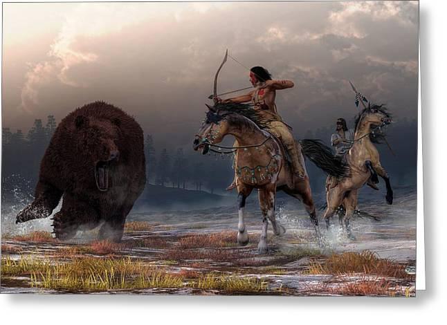 American Indian Legends Greeting Cards - Bear Hunt Greeting Card by Daniel Eskridge