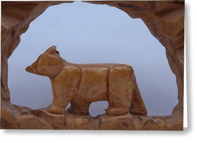 Black Sculptures Greeting Cards - Bear in a cave Greeting Card by Robert Margetts