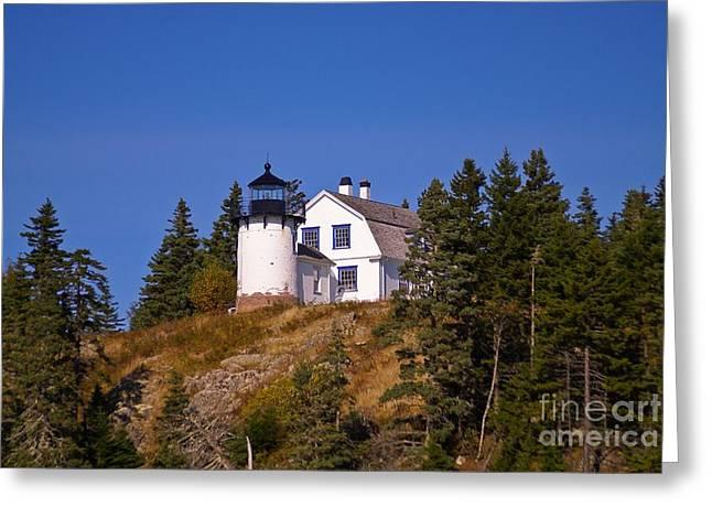 Bear Island Lighthouse Greeting Cards - Bear Island Light.  Greeting Card by New England Photography