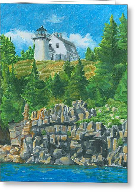 New England Lighthouse Drawings Greeting Cards - Bear Island Lighthouse Greeting Card by Dominic White