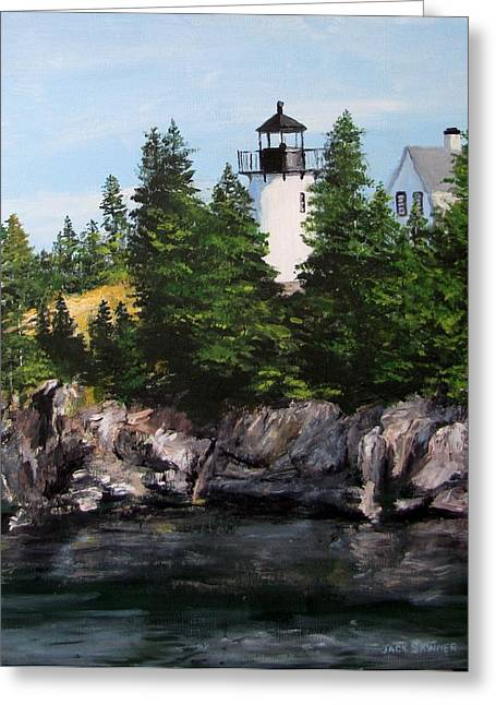Jack Skinner Paintings Greeting Cards - Bear Island Lighthouse Greeting Card by Jack Skinner