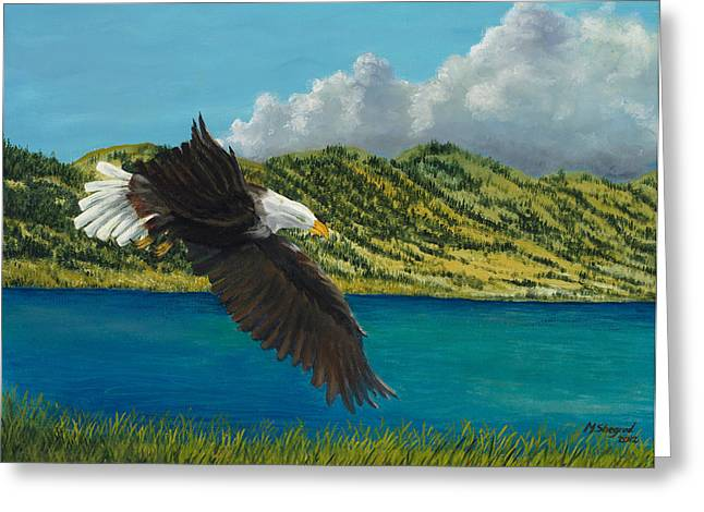Eagles In Storms. Bald Eagles Greeting Cards - Bear Lake Eagle Greeting Card by Michael Shegrud