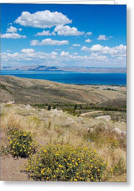 Geobob Greeting Cards - Bear Lake from Garden City Utah Overlook on US 89 looking North Toward Montpelier in Wyoming  Greeting Card by Robert Ford