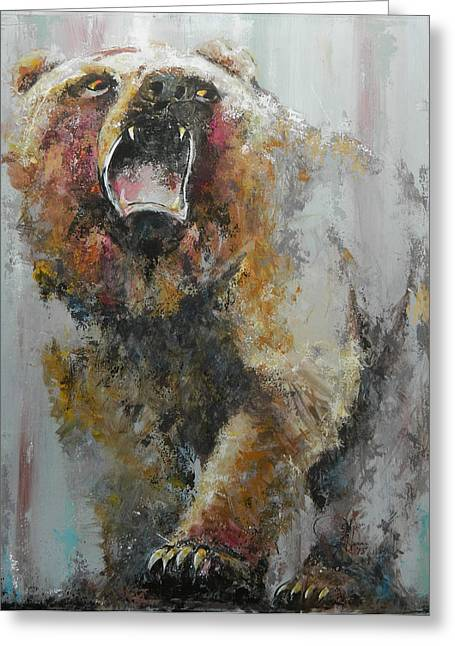 Wall Art Paintings Greeting Cards - Bear Market Greeting Card by John Henne