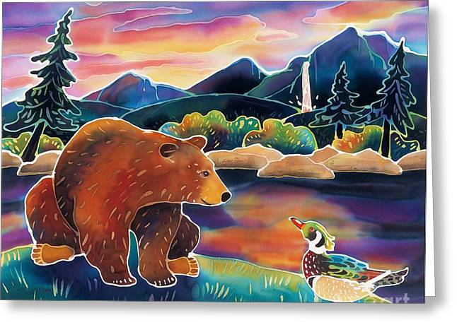 Ducks Lakes Greeting Cards - Bear Meets Wood Duck Greeting Card by Harriet Peck Taylor