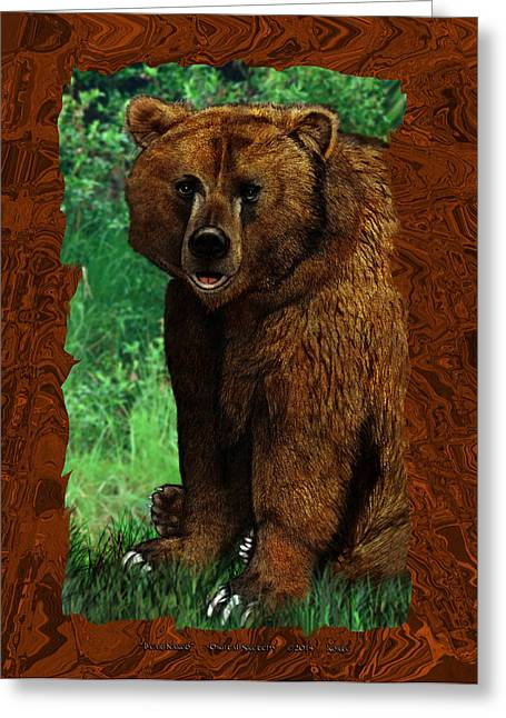 Bravery Mixed Media Greeting Cards - Bear Naked Greeting Card by Christopher Korte