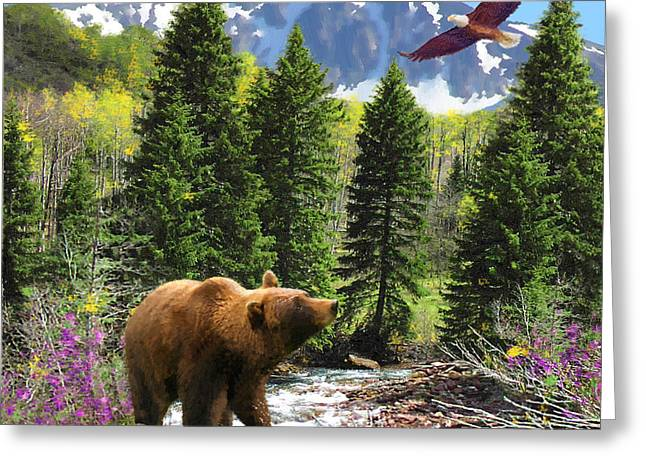 Bear Necessities Ill Greeting Card by Doug Kreuger
