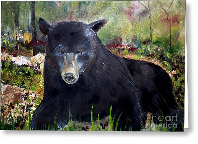 Alertness Paintings Greeting Cards - Bear Painting - Blackberry Patch - Wildlife Greeting Card by Jan Dappen
