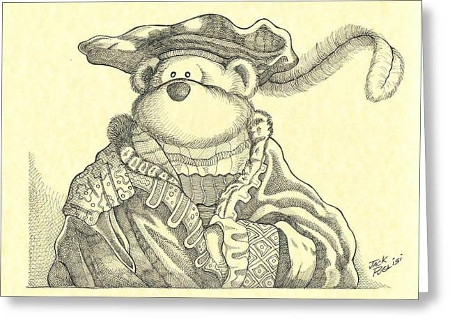Cute Bear Cartoon Greeting Cards - Bear Paw Greeting Card by Jack Puglisi