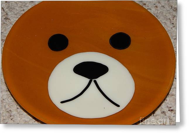 Mammals Glass Art Greeting Cards - Bear Plate Greeting Card by Patricia  Tierney