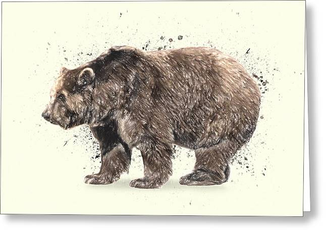 Animals Love Drawings Greeting Cards - Bear Study Greeting Card by Taylan Soyturk