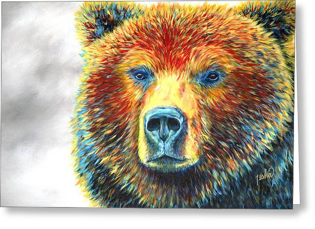Modern Western Greeting Cards - Bear Thoughts Greeting Card by Teshia Art