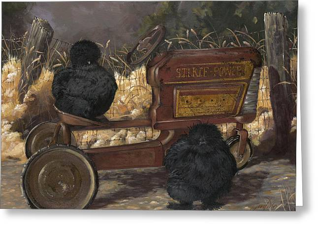 Peddle Car Greeting Cards - Bearded Black Silkie Bantam Pair Greeting Card by Gilda Goodwin
