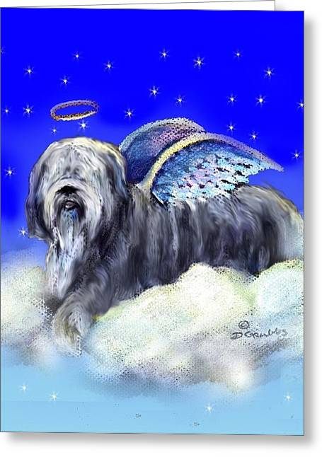 Collie Pastels Greeting Cards - Bearded Collie Angel Greeting Card by Darlene Grubbs