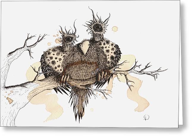 Strange Owl Greeting Cards - Bearded Fluff Hoot Greeting Card by Lisa Stevens