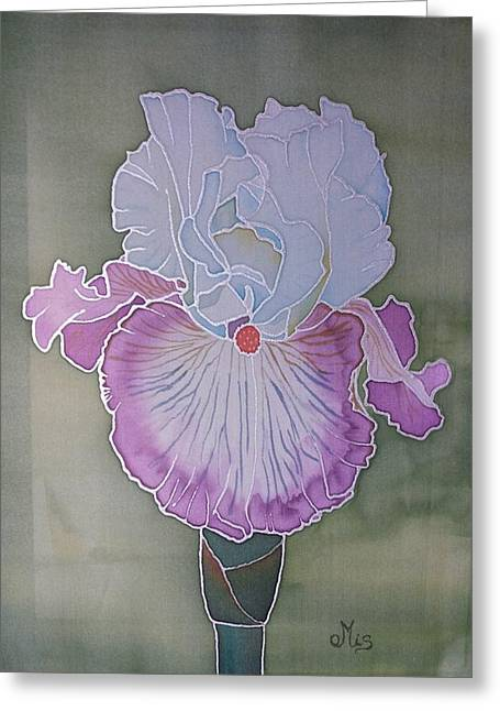 Blooms Tapestries - Textiles Greeting Cards - Bearded iris Greeting Card by Edvinas Misiukevicius