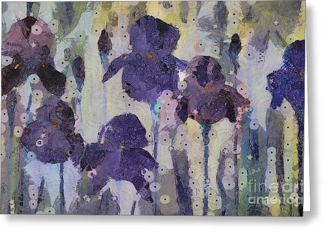 Cbull Greeting Cards - Bearded Irises Greeting Card by Claire Bull