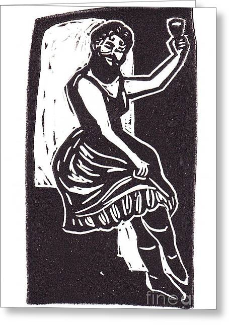 Block Print Art Mixed Media Greeting Cards - Bearded Lady Greeting Card by Coralette Damme