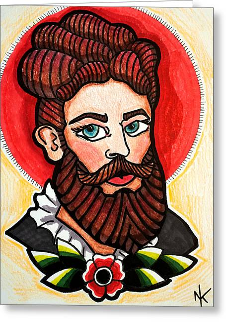 Hairy Drawings Greeting Cards - Bearded Lady Greeting Card by Nicole Kaspereen