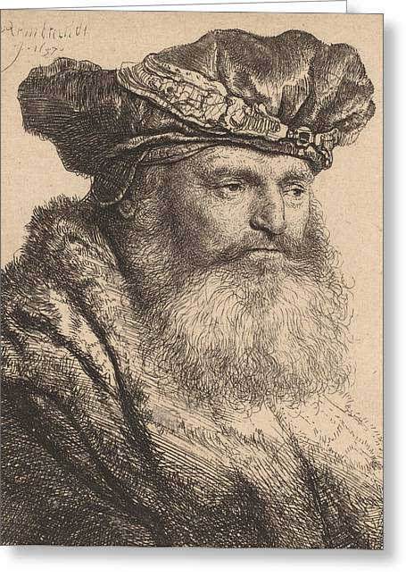 Pen And Paper Drawings Greeting Cards - Bearded Man in a Velvet Cap with a Jewel Clasp Greeting Card by Rembrandt