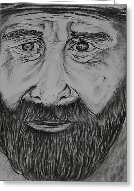 Paul Morgan Greeting Cards - Bearded Man Greeting Card by Paul Morgan