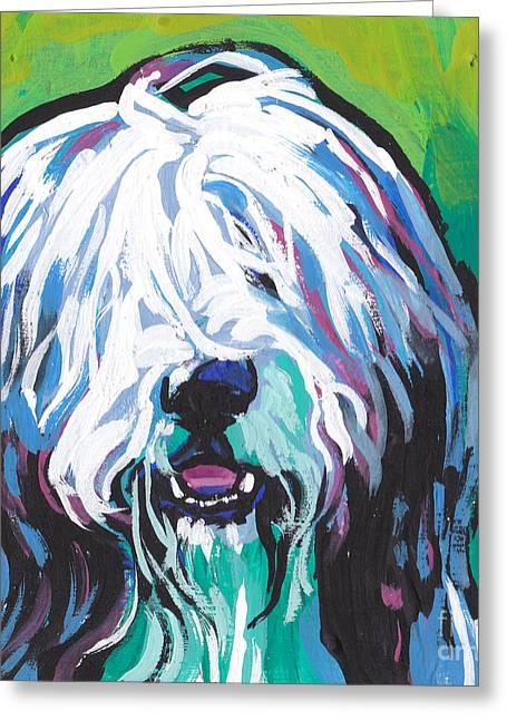 Collie Paintings Greeting Cards - Beardie Greeting Card by Lea