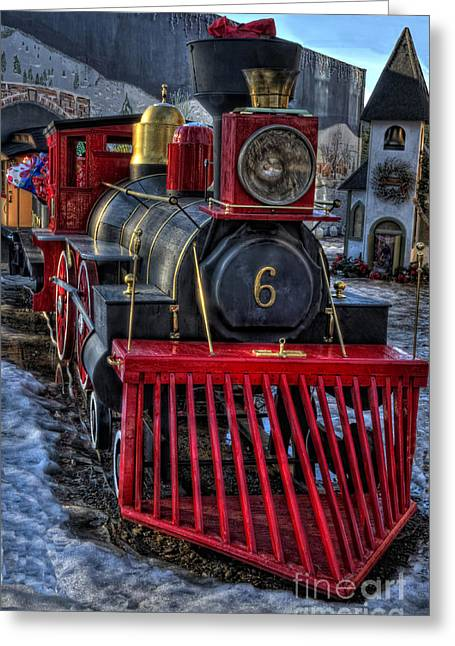 Wooden Train Print Greeting Cards - Bearing Gifts Greeting Card by Frank Welder