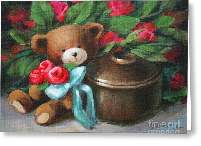 Child With Teddy Bear Greeting Cards - Bearing Roses Greeting Card by Sue Cervenka