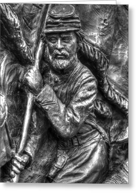 Aotp Greeting Cards - Bearing the State Colors.  State of Delaware Monument Detail-F Gettysburg Autumn Mid-Day. Greeting Card by Michael Mazaika
