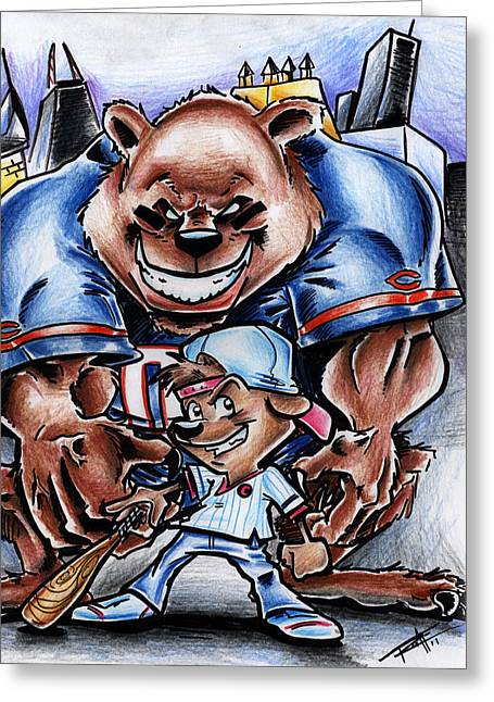Chi Drawings Greeting Cards - Bears and Cubs Greeting Card by Big Mike Roate