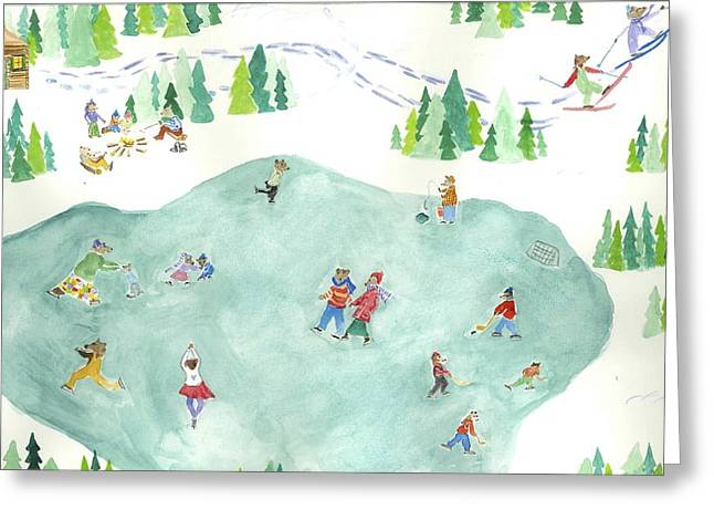 Hockey On Frozen Pond Greeting Cards - Bears Ice Skating Greeting Card by Jackie Beyer