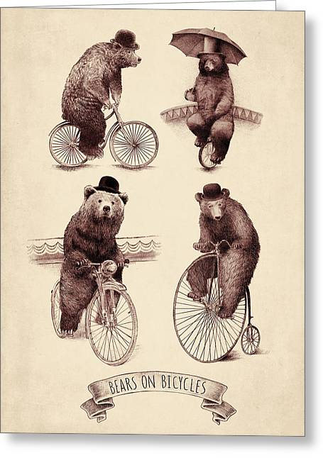 Umbrellas Greeting Cards - Bears on Bicycles Greeting Card by Eric Fan