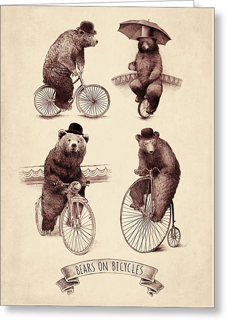 Umbrella Drawings Greeting Cards - Bears on Bicycles Greeting Card by Eric Fan