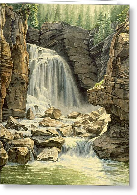 Wyoming Paintings Greeting Cards - Beartooth Falls Greeting Card by Paul Krapf